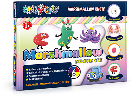 CrazyClay Marshmallow Knete – Deluxe set - Frontal perspektivisch
